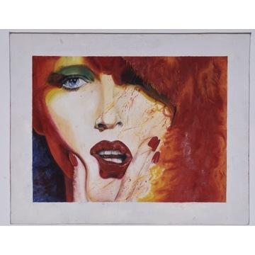 Obraz olejny kobieta z czerwonymi włosami