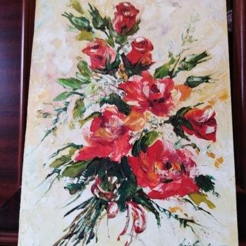Róże czerwone, wiązanka,obraz olejny z 2007r