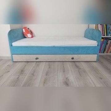 Łóżko dziecięce z materacem i szufladą niebieskie