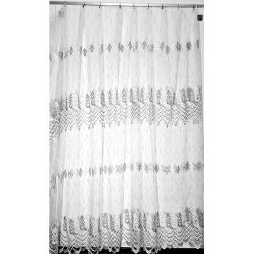 Firana  biało - srebrna z pasami haftu wys. 270cm