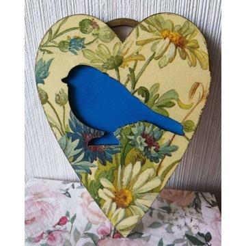 Zawieszka serce z ptakiem