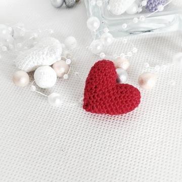 Mini serduszko szydełkowe serce do kartek-czerwień