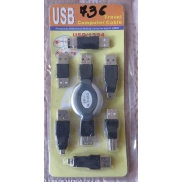 Zestaw Przejściówek USB z rozwijanym kablem