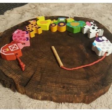 Drewniane klocki zwierzęta do nawlekania