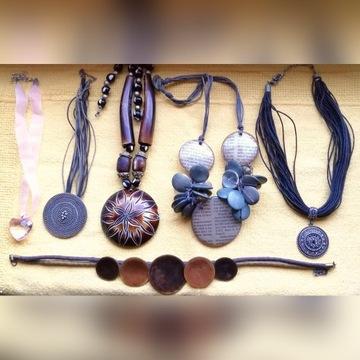 Zestaw biżuterii brązowa orientalna naszyjniki