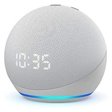 Amazon Echo Dot 4 z Zegarem Biały Nowy Plomby