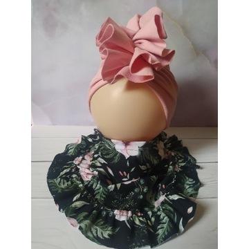 Wiosenny komplet dla dziewczynki turban +chusta