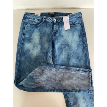 Guess spodnie jeans rurki skinny jegging L cekiny
