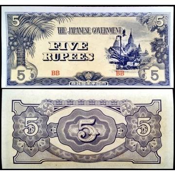 Birma Japonia 5 Rupees 1942 UNC