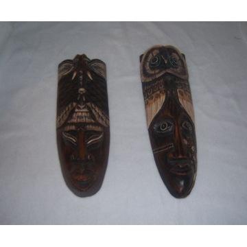 Zestaw dwóch masek maska drewno rękodzieło Afryka