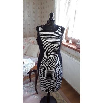 sukienka nowa  - śliczna paski czarno biale M&S
