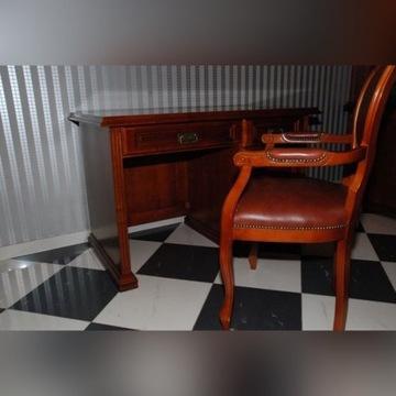 Biurko stylowe wraz z fotelem skórzanym