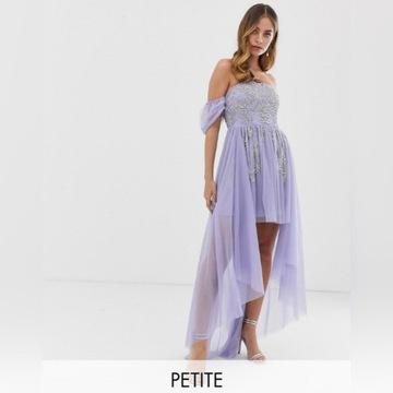 Asymetryczna sukienka zdobiona, wesele S/36