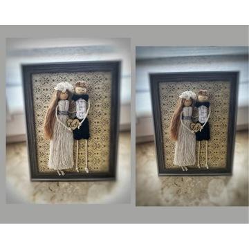 Pamiątka ślubna ramka Para Młoda makrama