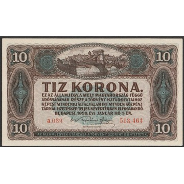 Węgry 10 koron 1920 - stan bankowy - UNC -