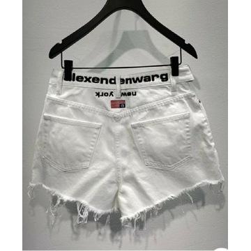 Aleksander Wang spodenki biale jeansowe krótkie s