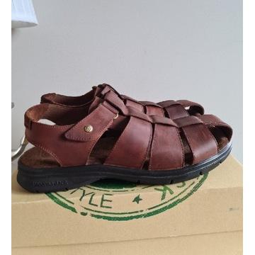 Nowe sandały Panama Jack r.47 skóra brąz (499 zl)