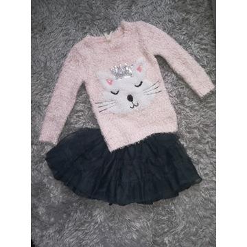 YD sweter kotek cekiny i tutu  3-5l 104cm 110cm