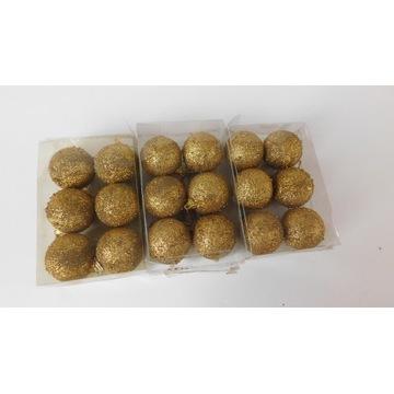 Bombki złote brokatowe 18 szt komplet 3 opakowania