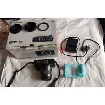 Canon M3 + obiektyw 18-55 + pudełk + karta SD