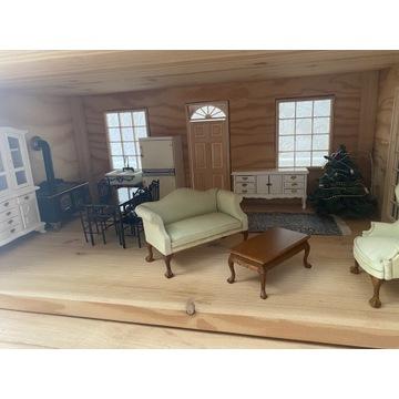 Drewniany domek dla lalek, mebelki akcesoria