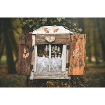 Okno drewniane z Okiennicą - ręcznie wykonane