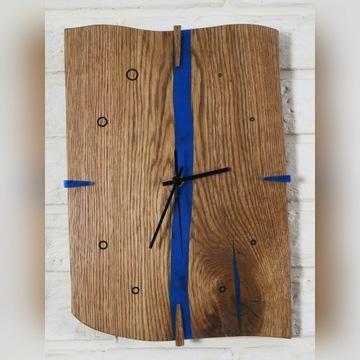 zegar ścienny dębowy z żywicą
