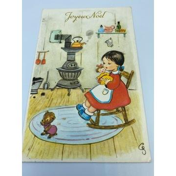 Pocztówka świąteczna z dziewczynką