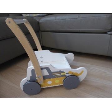 Drewniany wózek pchacz koparka jeździk