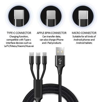 Kabel USB 3 w 1 do telefonu komórkowego. Typu C