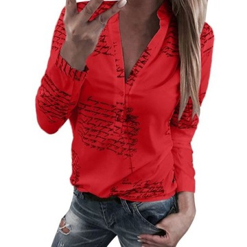 Bluzka damska czerwona modna elegancka sexowna L