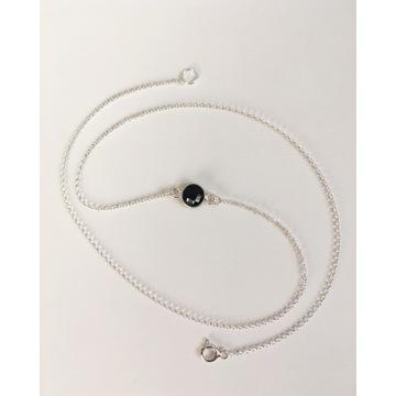 Srebrny łańcuszek z zawieszką - onyks czarny