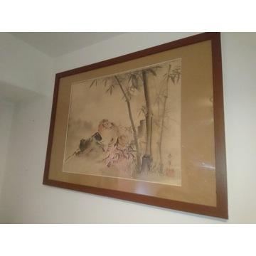 stary oryginalny obraz kakemono tygrys Japonia