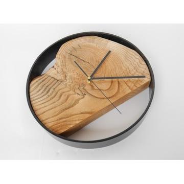 Zegar duży, naturalne drewno stal, Loft rustykalny