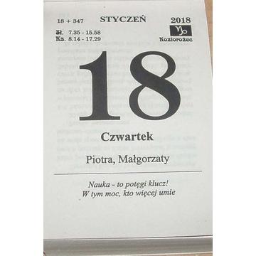 Kalendarz na 2018 rok Zdzierak Kartka z kalendarza