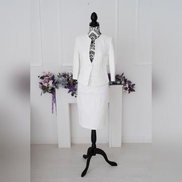 Biały Klasyczny Komplet Spódnica Żakiet  (r.36-44)