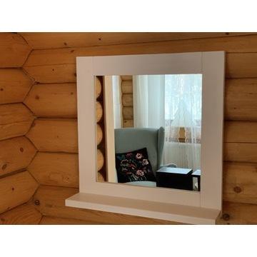 Lustro z półką drewniane na ścianę lub do toaletki