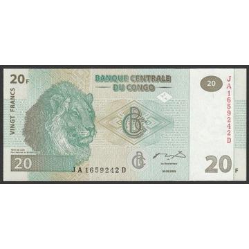 Kongo 20 franków 2003 - Lew - stan bankowy UNC