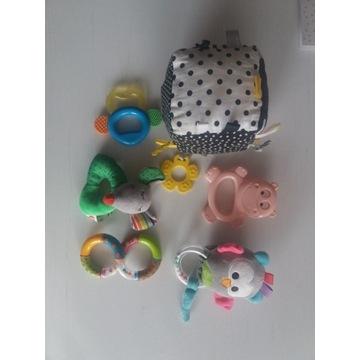 zestaw zabawka sensoryczna gryzak grzechotka