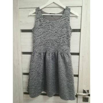RESERVED Premium sukienka szara koronka święta 158