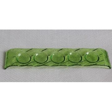 Szklany świecznik na 5 tealigtów, piękna zieleń