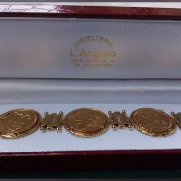 Złota bransoletka z brytyjskimi monetami Sterling