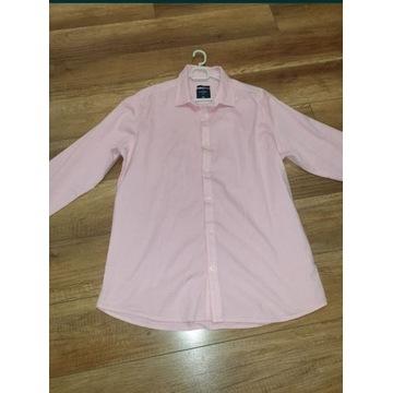 Koszula męska w kratę  różowa XL