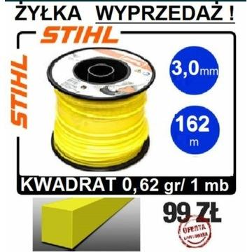 STIHL żyłka 3,0mm do kos KWADRATOWA rolka 162m org
