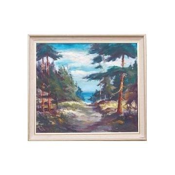 """Obraz olejny""""Droga nad morze"""", oprawiony."""