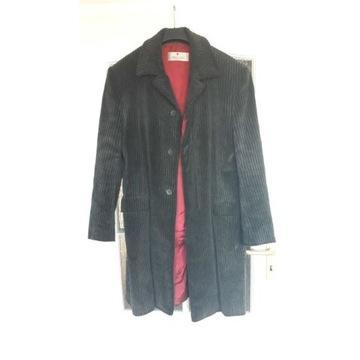 Płaszcz męski, r.54, gruby sztruks, ciemny grafit