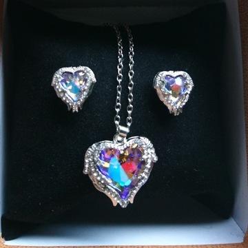 Komplet kryształowe serce VL z cyrkoniami