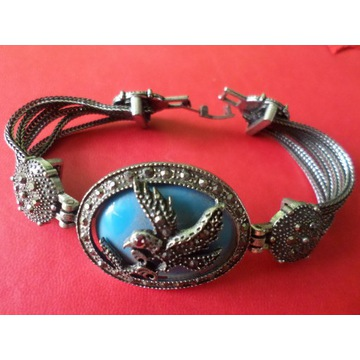 Turecka piękna bransoleta z markazytami - metal