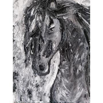"""Obraz olejny """"Czarny koń""""  50/60cm"""