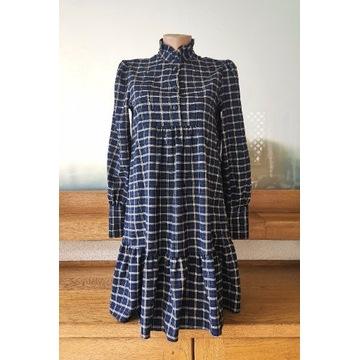 koszulowa sukienka w kratkę Zara XS 34 oversize